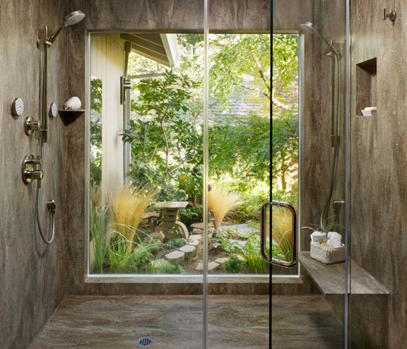 Indoor outdoor shower new guest house pinterest for Indoor outdoor shower
