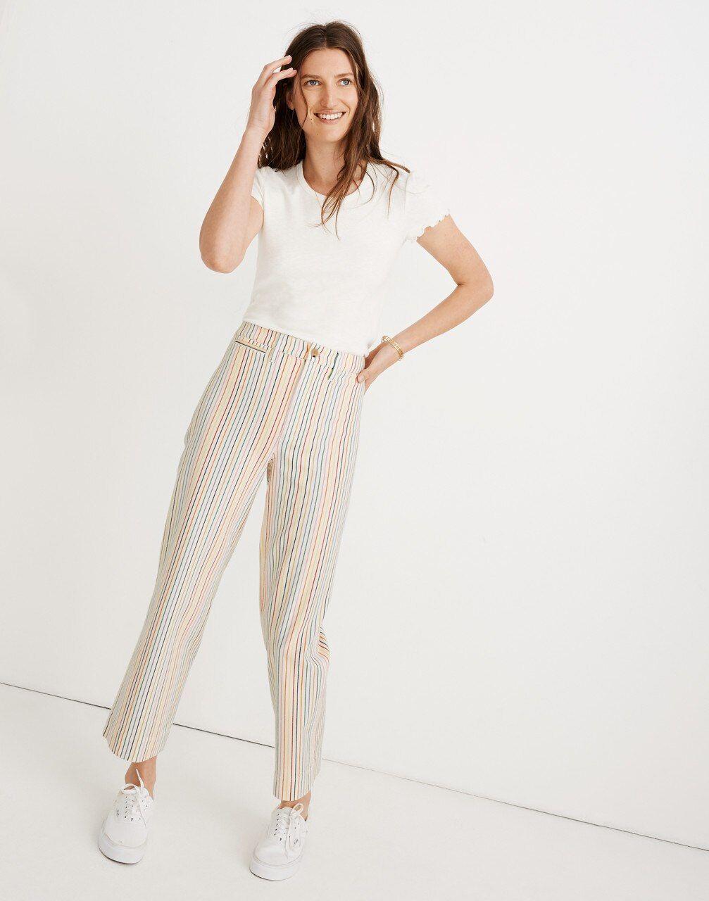 0a342f0ce Slim Emmett Wide-Leg Crop Pants in Rainbow Stripe in 2019 | Products ...