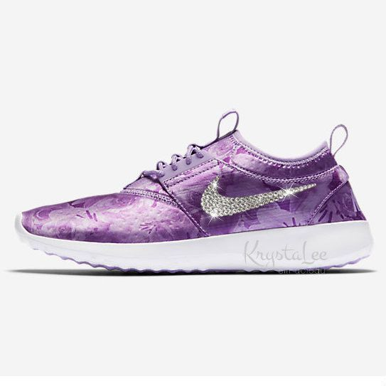 Custom Bling Womens Nike Juvenate Flo Print Purple White Swarovski Crystal  Bling Sneakers, Running Shoes