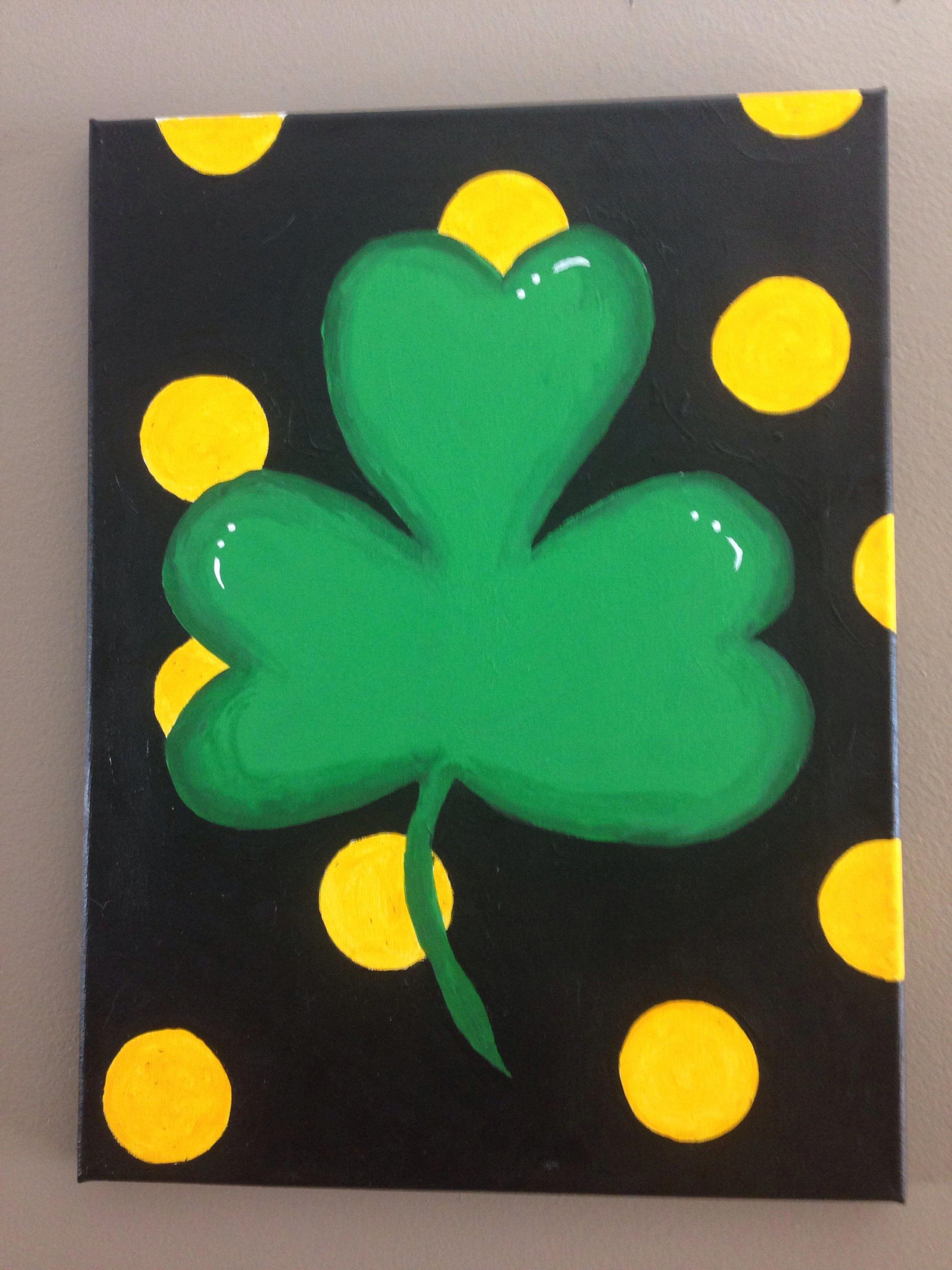 St. Patricks Day shamrock canvas painting