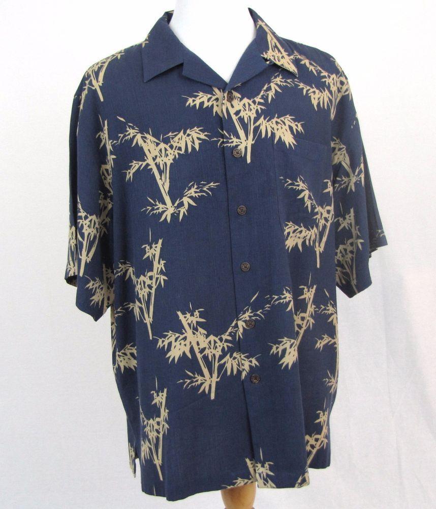 Reyn Spooner Hawaiian Shirt XL Regency Silk Jacquard Bamboo Floral Aloha Camp #ReynSpooner #Hawaiian
