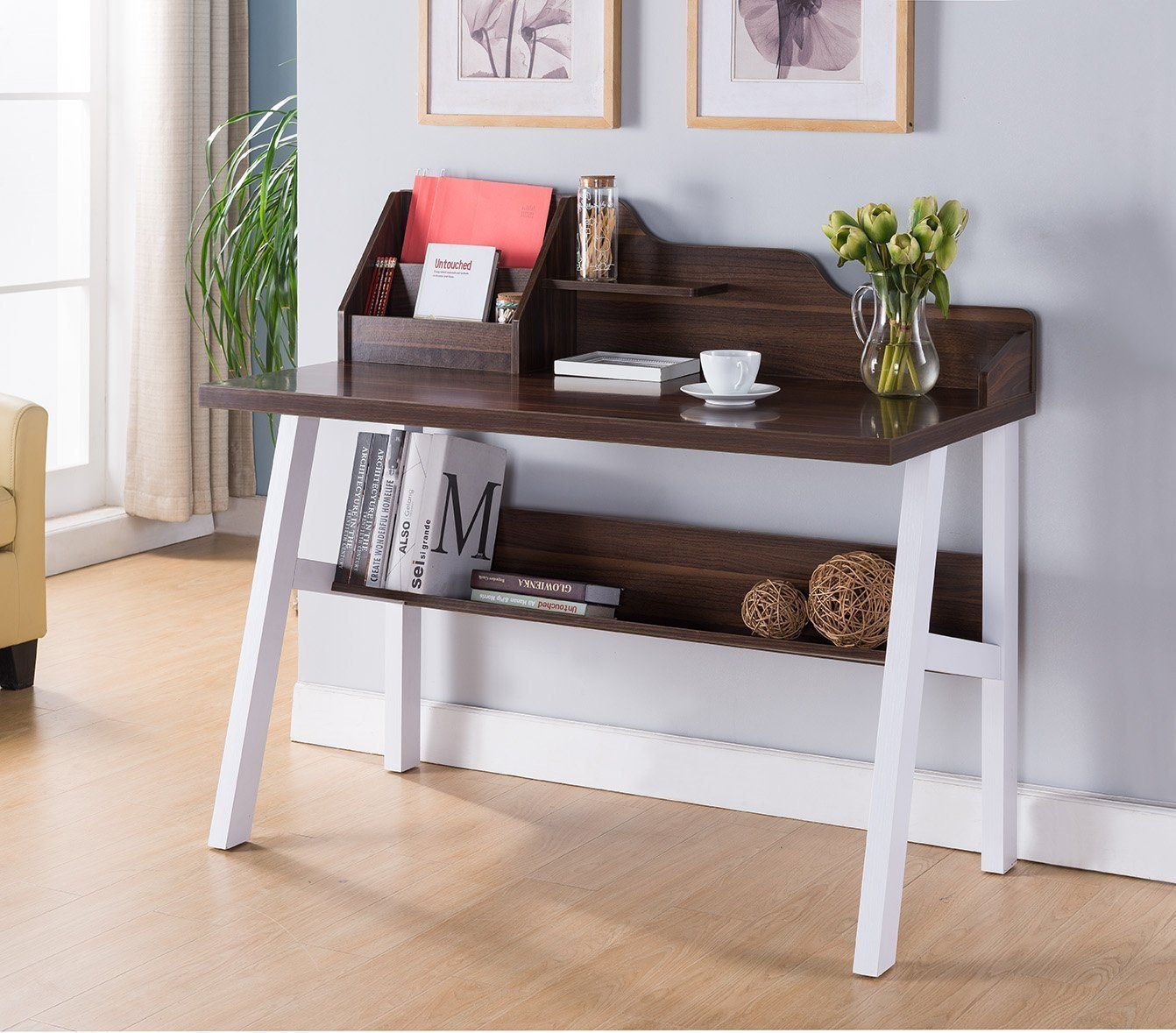 Wooden Desk With Bottom Shelf, Brown And White Products