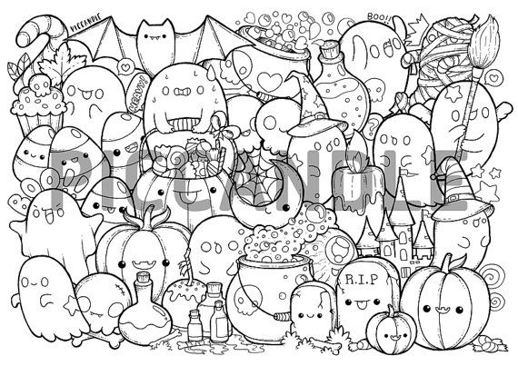 Halloween Doodle Coloring Page Printable Cute By Piccandle On Etsy