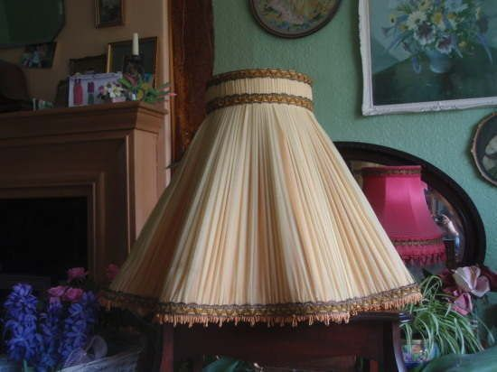 Huge Vintage 1950 S French Chiffon Pleated Standard Lampshade Yellow With Ribbon Shabby Chic Lamp Shades Vintage Lampshades Standard Lamp Shades