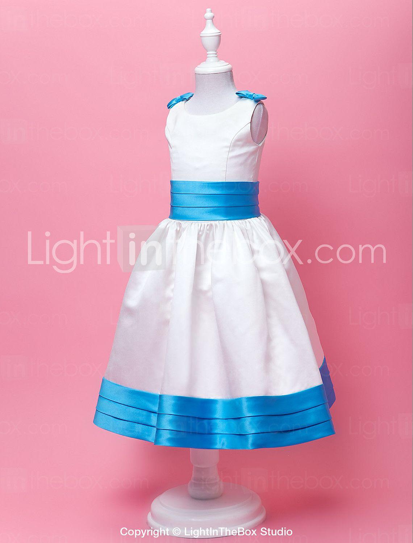 A-Line joya té de longitud satinado vestido de niña de las flores ...
