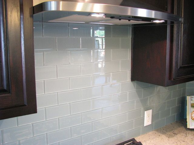 soft teal glass subway tile backsplash for modern kitchen solution