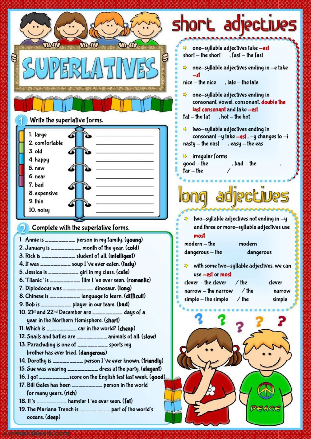 superlatives interactive and downloadable worksheet. You