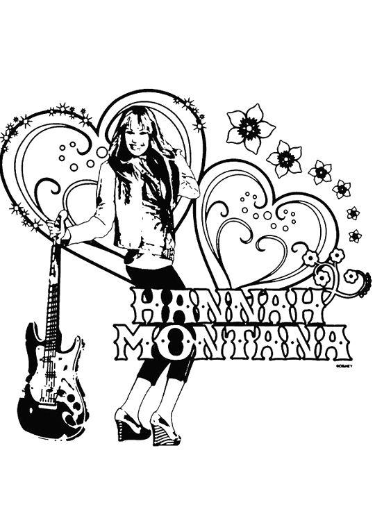 Hannah Montana And Guitar Coloring Page Hannah Montana Super