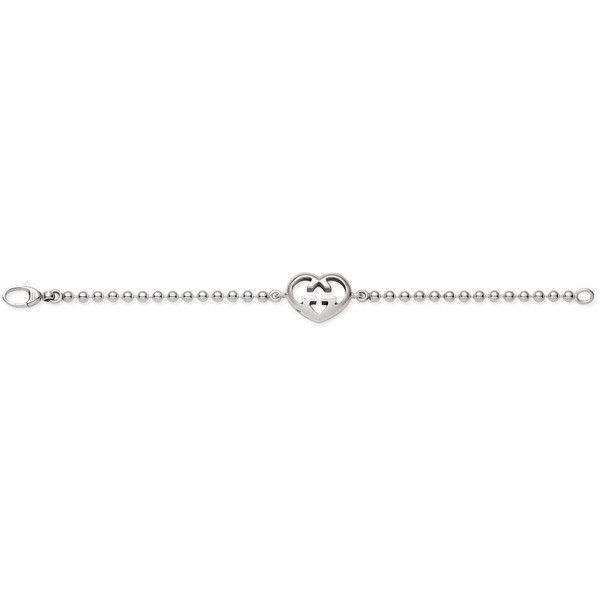 Gucci Bracelet With Heart Charm ($270) ❤ liked on Polyvore featuring jewelry, bracelets, accessories, silver jewellery, women, heart shaped jewelry, heart bangle, gucci jewellery, charm jewelry and chains jewelry