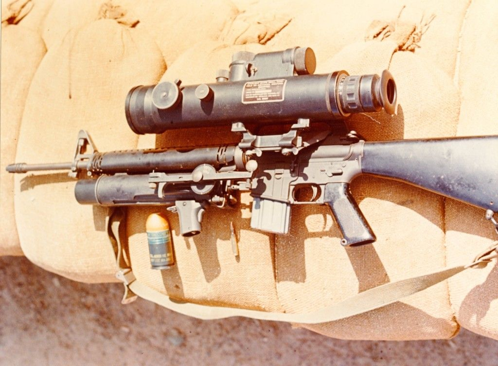 M16 with XM148 grenade launcher and Starlight scope