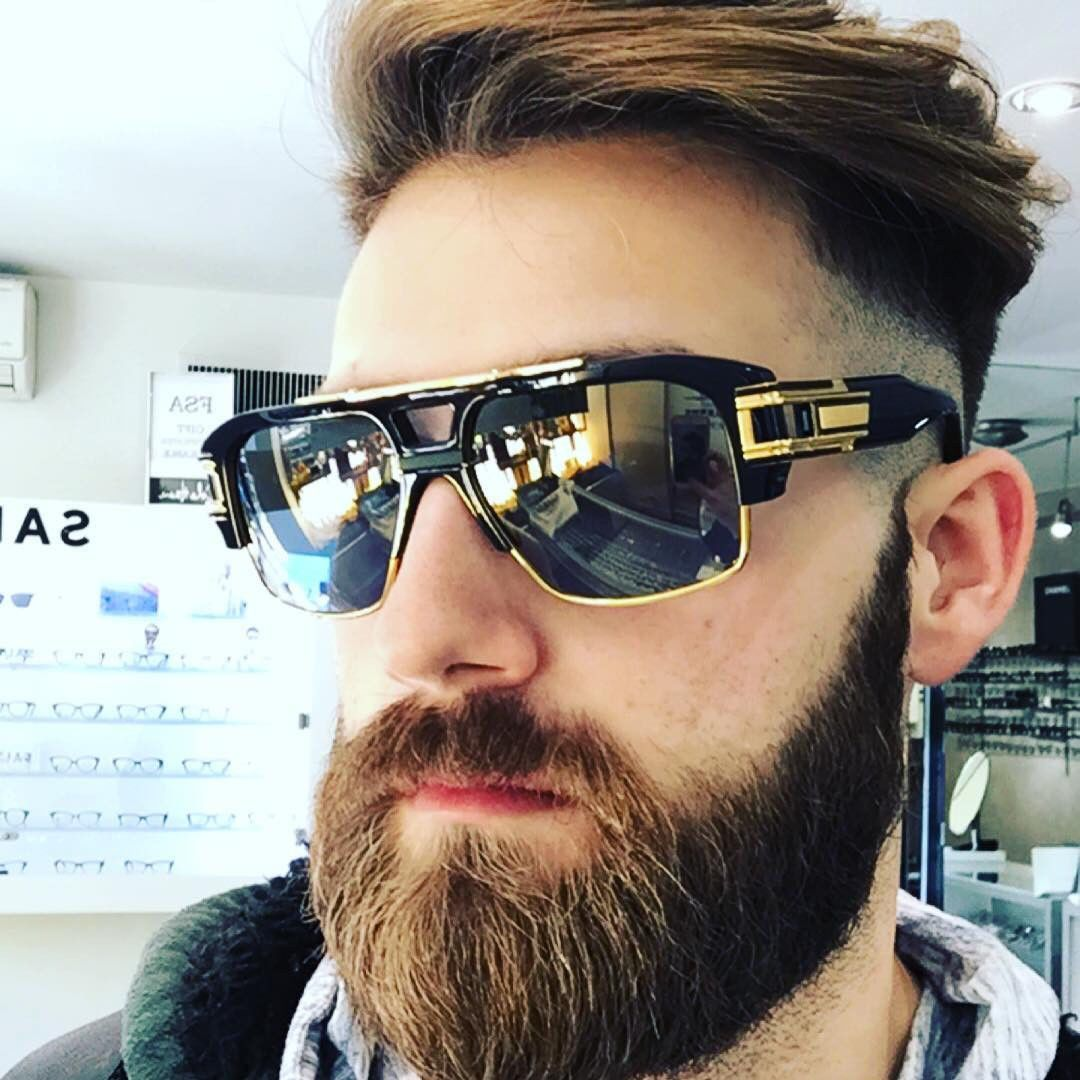 c151267b4af1 Oversized Square Aviator Gold Metal Bar Black Men Grand Designer Sunglasses