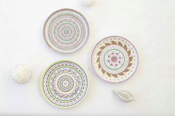 Plate set - Hand painted plates - Decorative plates - Wall hangings ...