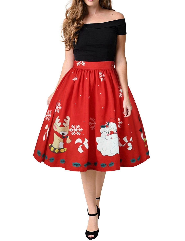 3df34fb67c Women Vintage Christmas Santa Claus Print Swing Pleated Flared ...