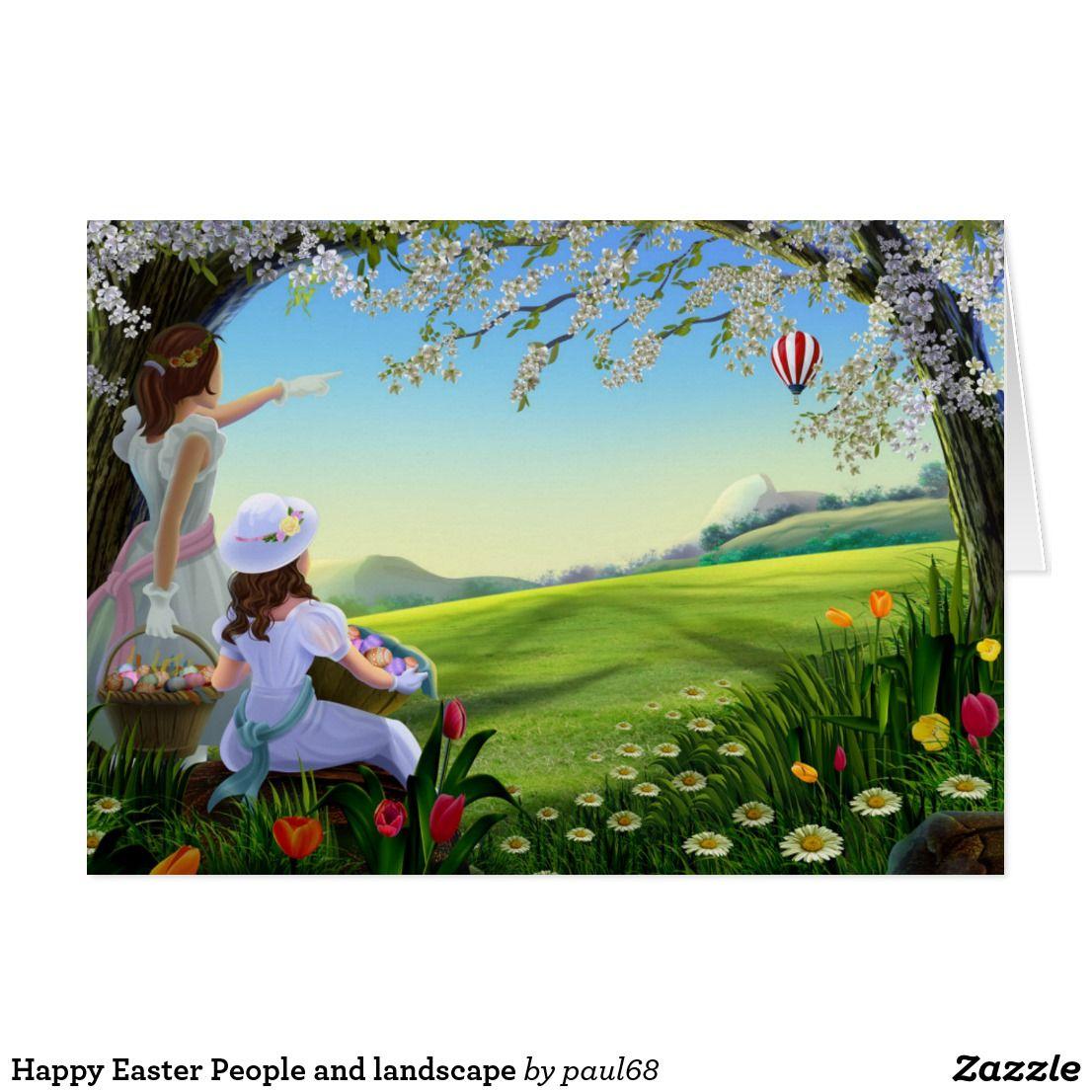 Happy Easter People and landscape Holiday Card   Zazzle.com #springdesktopwallpaper