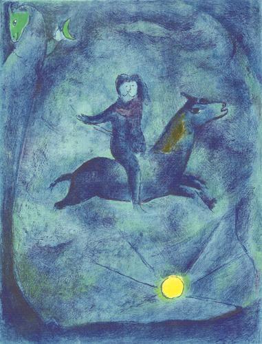 Marc Chagall「Mounting the ebony horse」(1948)