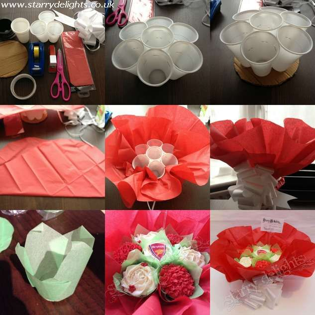 How To Make Flower Basket Cupcakes : Hi i recently made an arsenal themed cupcakes bouquet