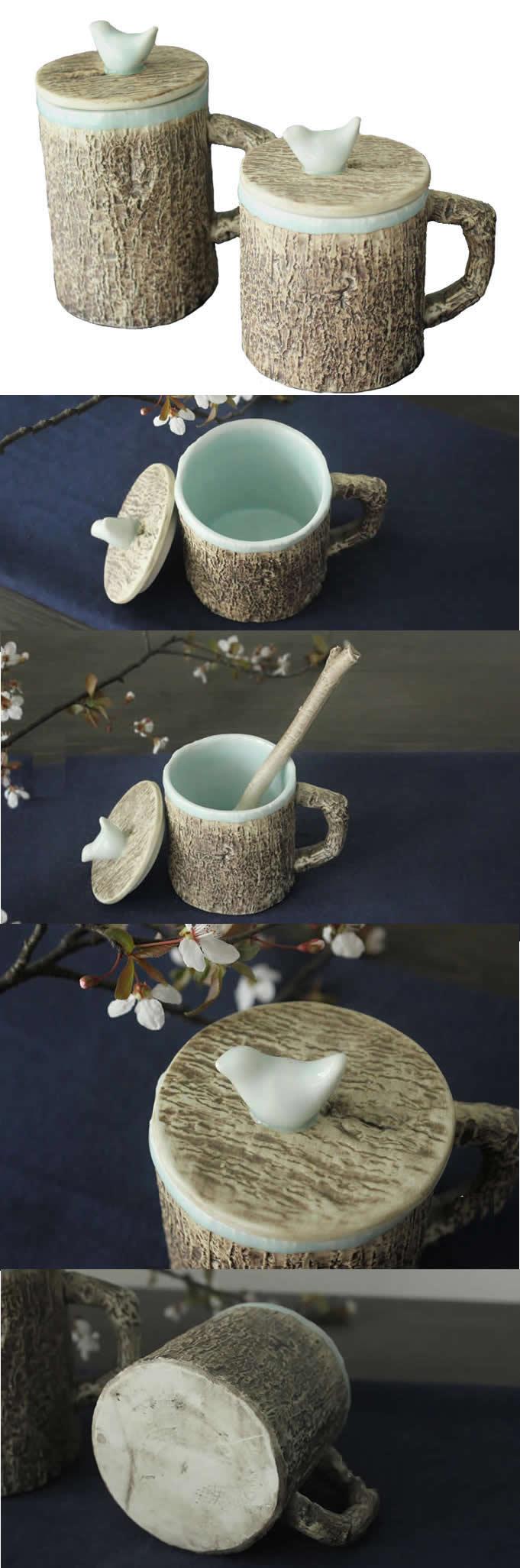 Ceramic Tree Bark Coffee Mug With Bird On Lid Looks Like a
