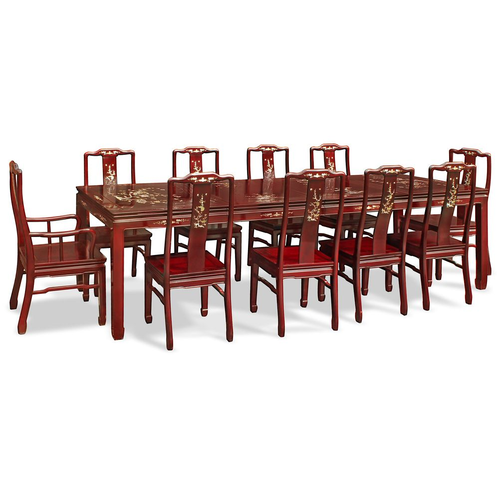 114in Rosewood Mother Of Pearl Inlaid Dining Table W 10 Chairs