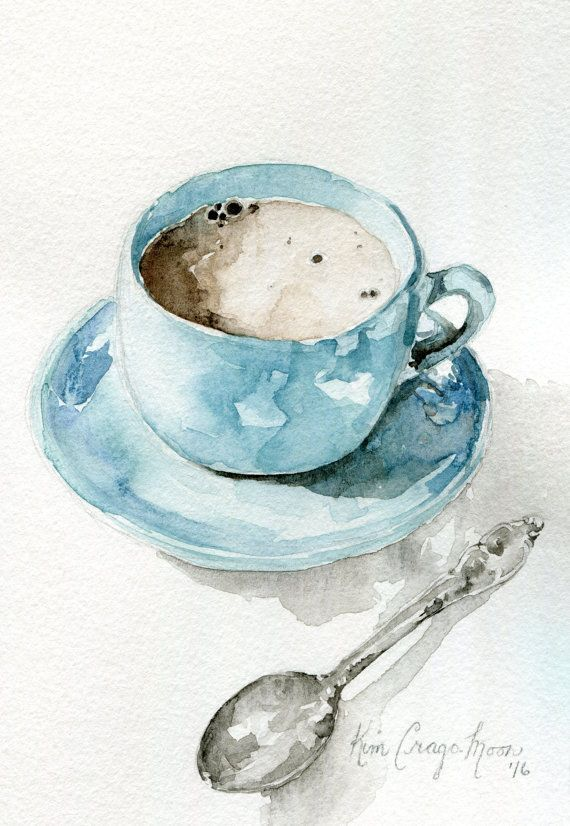 Photo of The painted moon studio blue tea cup watercolor art print by ThePaintedMoonStud