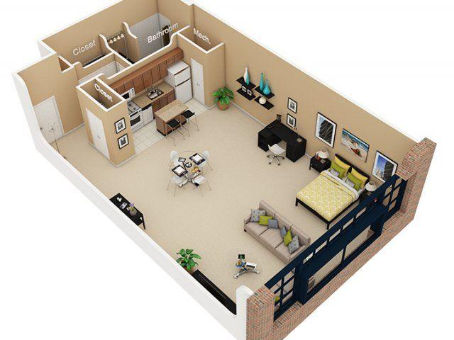 Open Loft Studio Apartment Floor Plans Apartment Plans