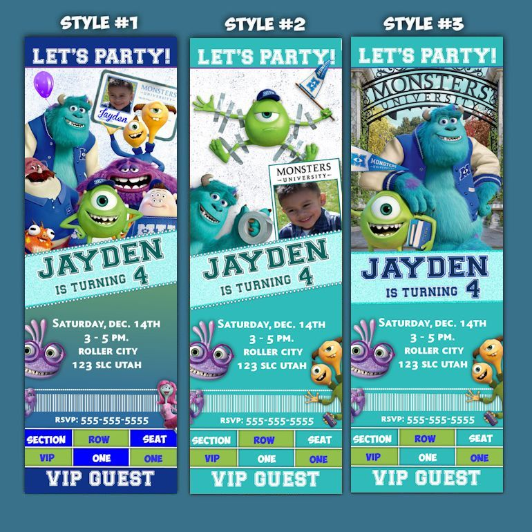 Monsters University Ticket - style -Birthday Invitation - Monsters - party ticket invitations