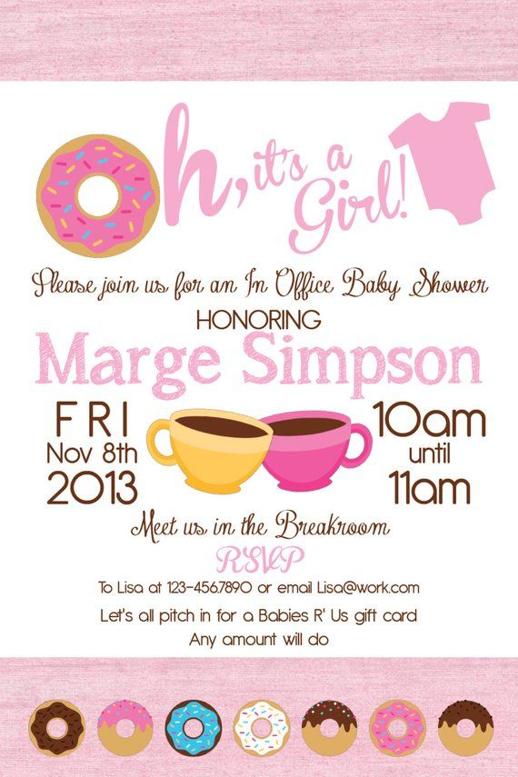 Printable Office Donut Baby Shower Invitation Great For