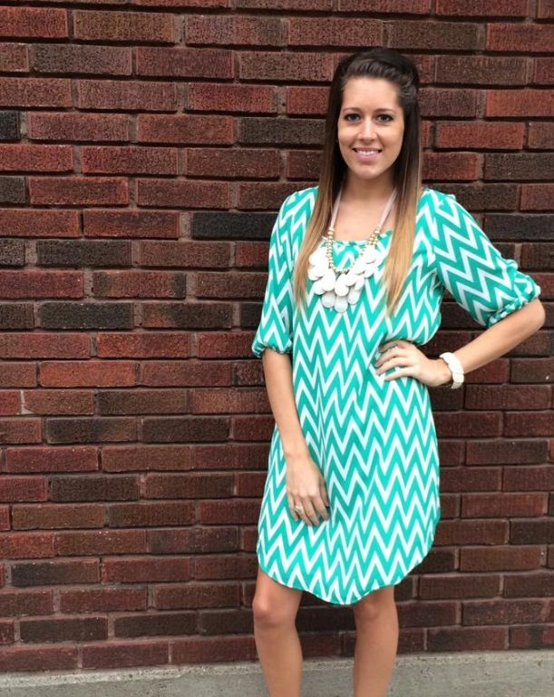 How could we not love this bright chevron piece?? Just the thing you need to brighten your wardrobe! And we LOVE the flattering fit! http://www.brandisboutiqueshop.co/item_2023/Teal-and-White-Thin-Chevron-Dress.htm.