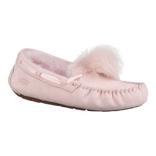 f9af53b882 Women s UGG Dakota Pom Pom Moccasin - Seashell Pink Suede Slippers ...