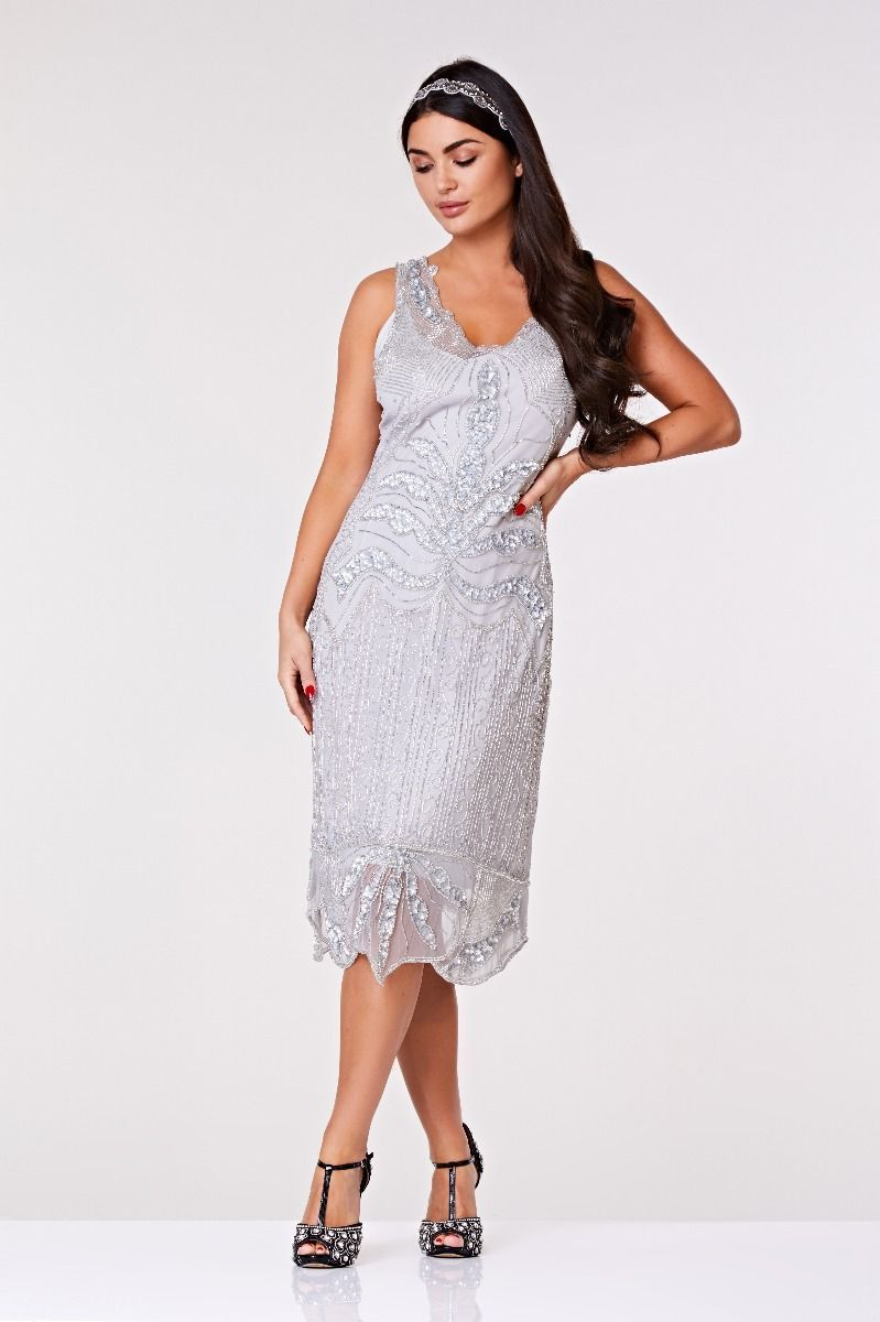 c9b69c55c99 Elsa Midi Length Flapper Dress in Silver 1