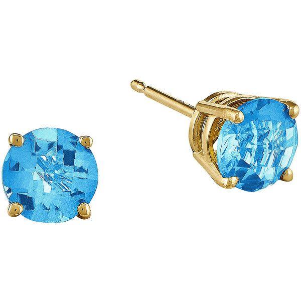 Fine Jewelry Genuine Swiss Blue Topaz 14K Yellow Gold Heart-Shaped Earrings t83kj