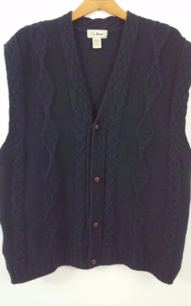 LL BEAN Mens Size XL Tall Sweater Vest Wool Navy Blue Button Front ...