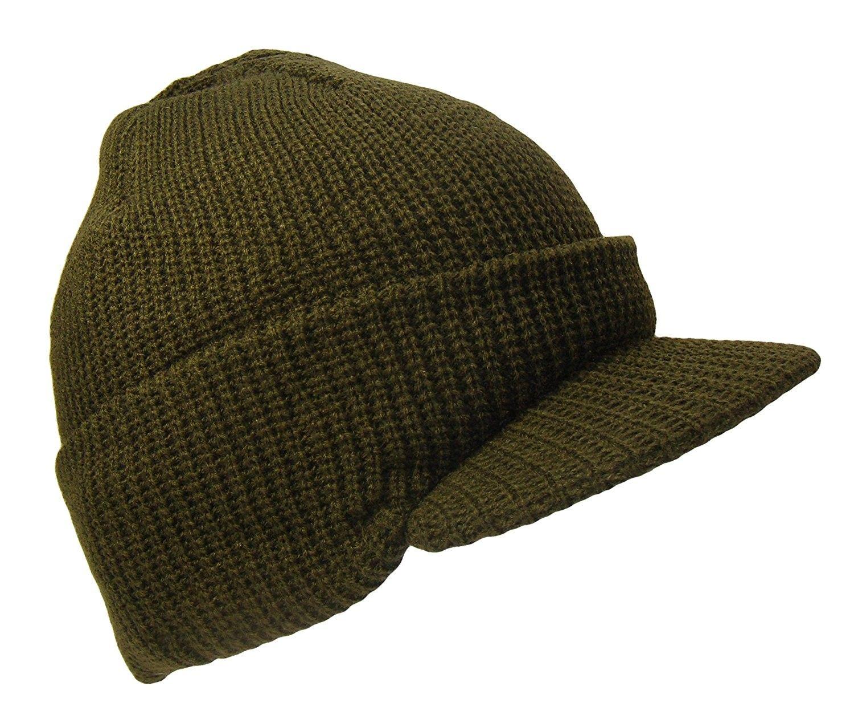 Knit Jeep Watch Cap Visor Beanie Ski Cap (One Size- Olive Green) -  CR129TTOGGX  d7d380213342