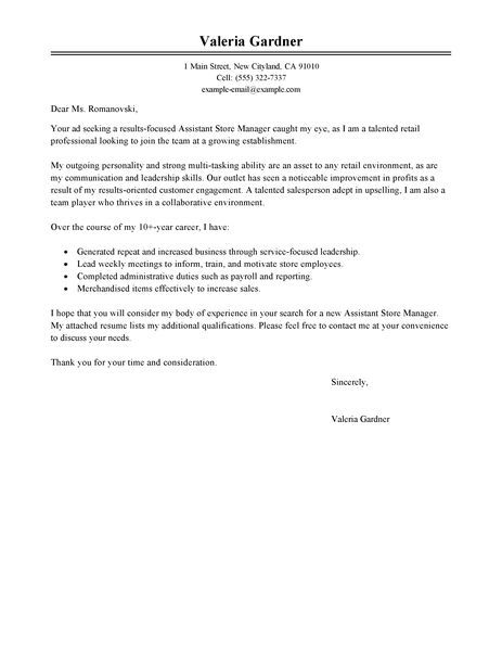 Big Classic Assistant Store ManagerCover Letter Example Career - body shop manager sample resume