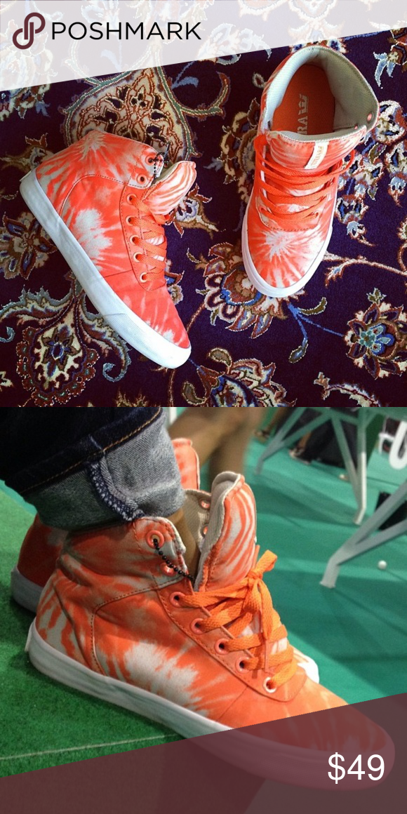 f857ecf24fbf9a Supra orange tie dye high top sneakers Supra orange tie dye high top  sneakers. Worn