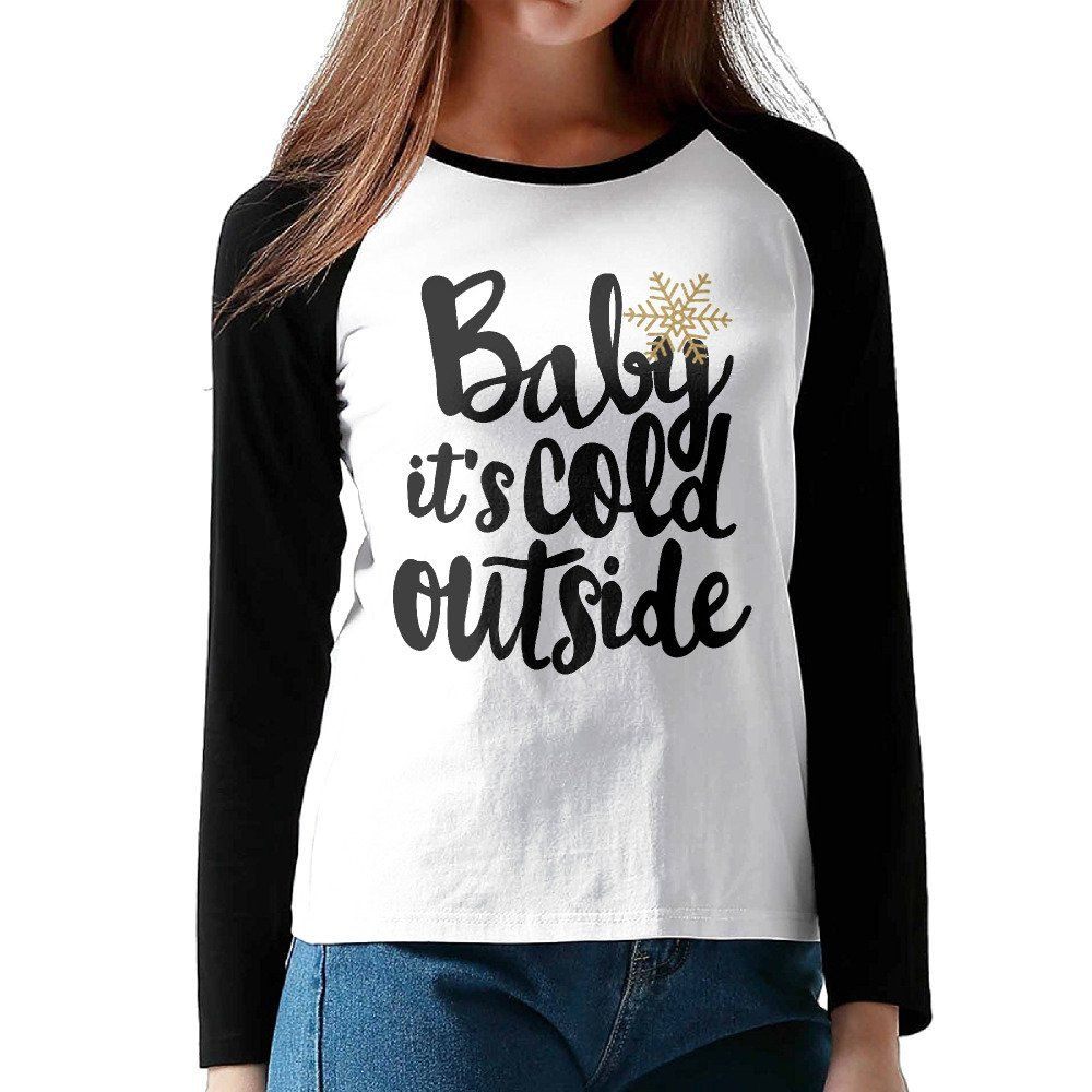 Long Sleeve Baseball T Shirt Baby It's Cold Outside Christmas Holiday Women's Tops. Please See Our Size Chart Below For The Accurate Fit & Order One Or Two Size Up;. DO NOT Confuse With Other Seller!!. Comfortable Raglan Baseball T-shirts.
