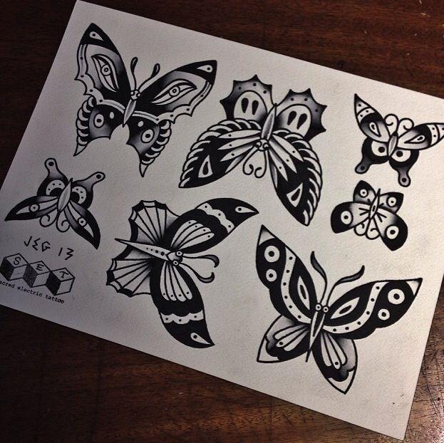 butterfly flash sheet traditional tattoos pinterest