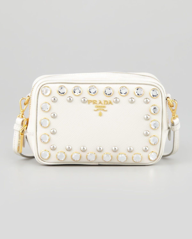 b624ba7e259964 Prada Saffiano Studded Mini Zip Crossbody Bag, White - Neiman Marcus ...