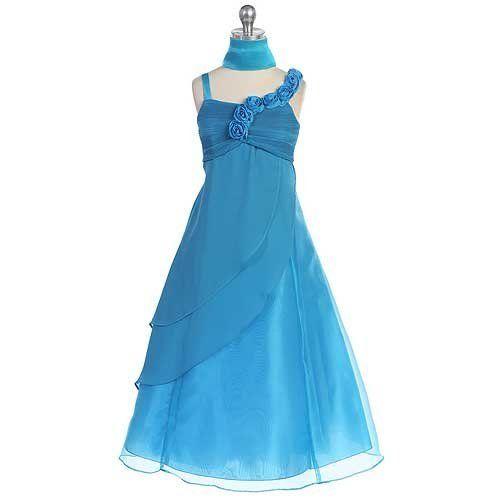 faf0521eb4e0 lulu Chic Baby Turquoise Charmeuse Organza Occasion Dress Girls 16 ...