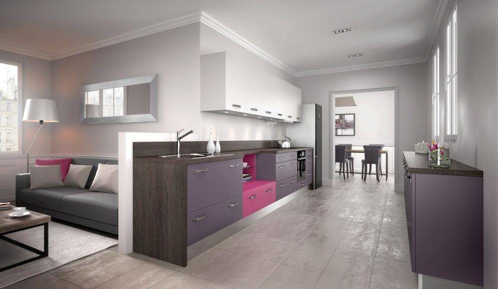 Cuisine moderne violette avec îlot - Modèle  Rive droite Pure