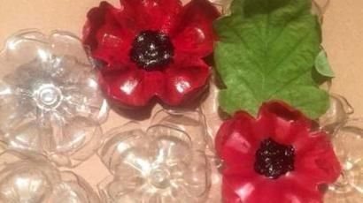 Beach plastic litter turned into poppies