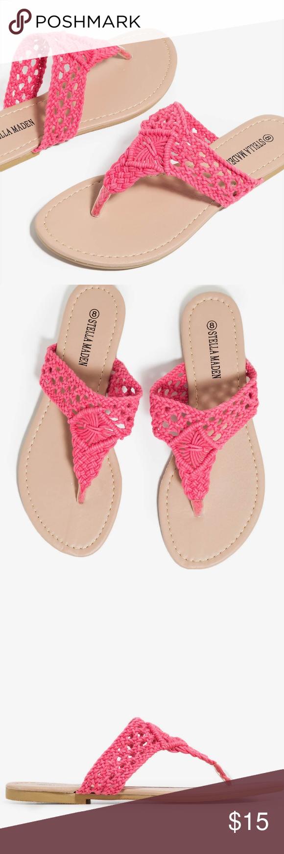 3a31973f0a2 NEW Coral Crochet Vamp Design Thong Strap Sandals NEW Stella Maden Women s  Coral Crochet Vamp Design