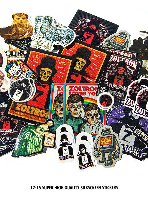 Sticker robot store exclusive custom made vinyl stickers and quality silkscreen sticker packs from