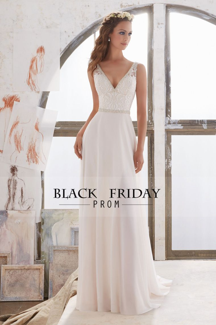 2017 V Neck Wedding Dresses A Line Chiffon With Beads And Embroidery ...