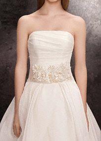 Stunning White By Vera Wang Sash Featuring Crystals And Organza