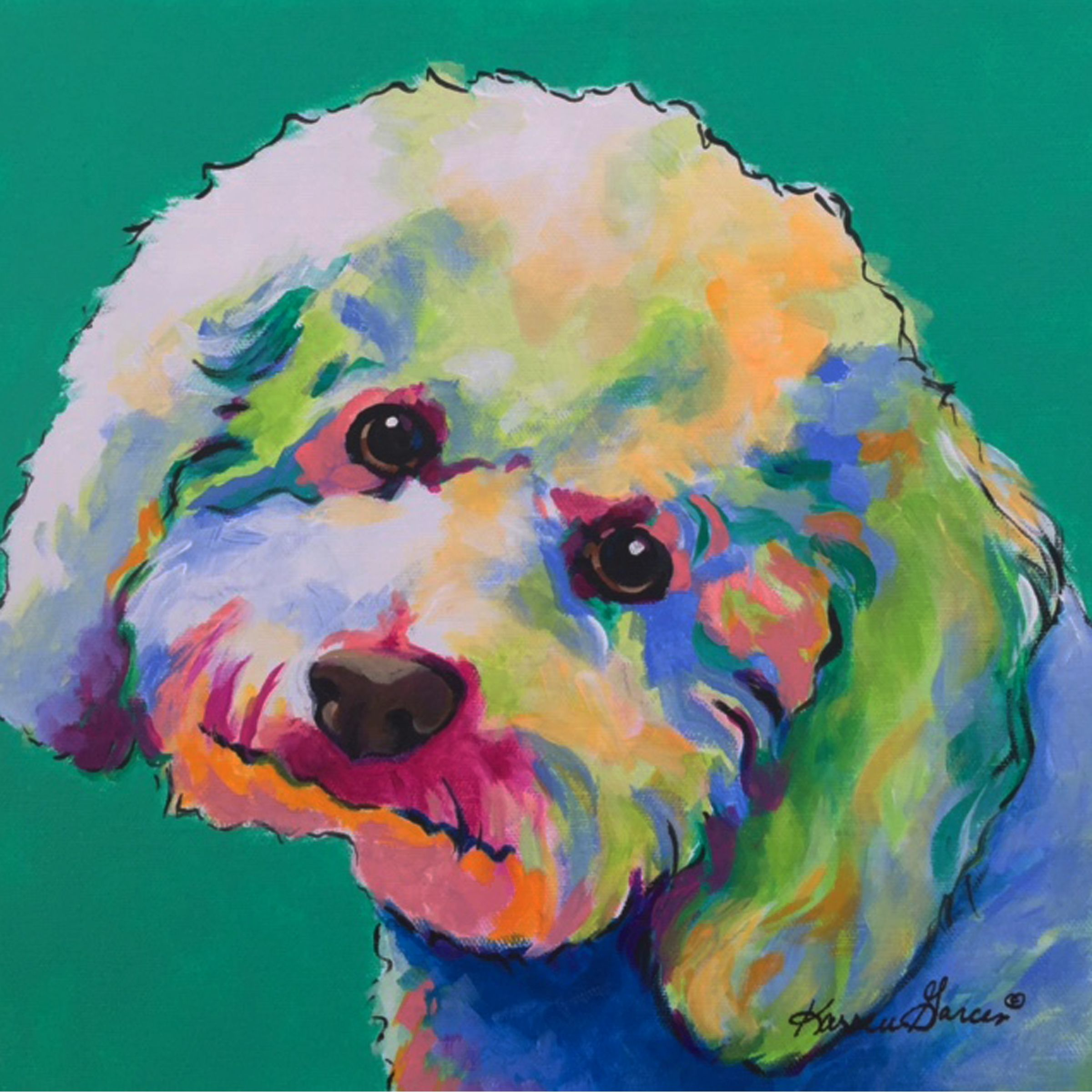 Bichon Frise Colorful Custom Pet Portrait Dog Painting Pop Art Dog Art Dog Pop Art
