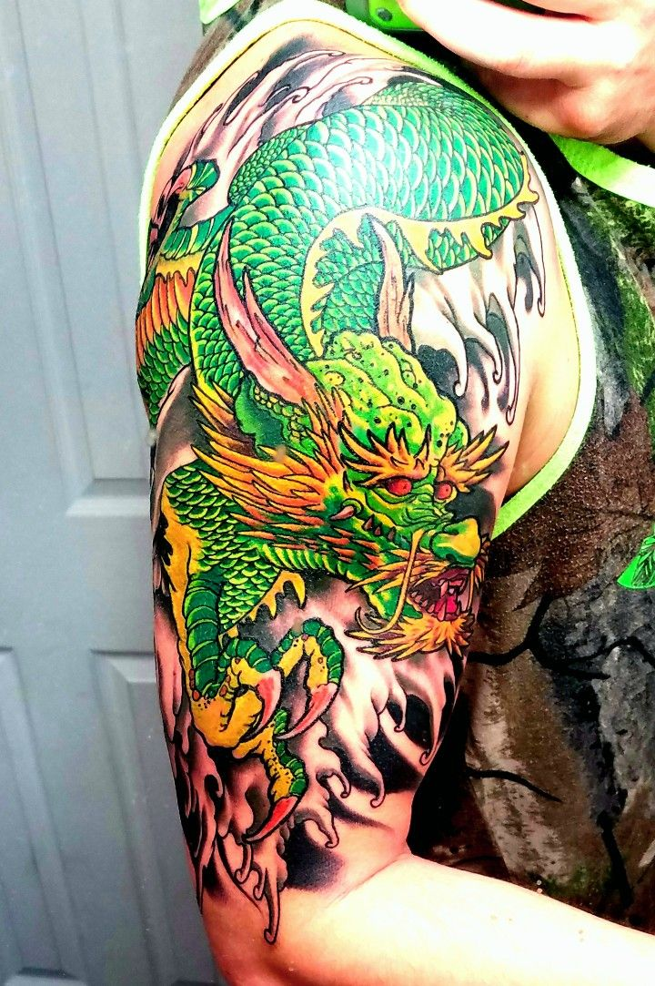 Green Dragon Chinese style Dragon sleeve tattoos