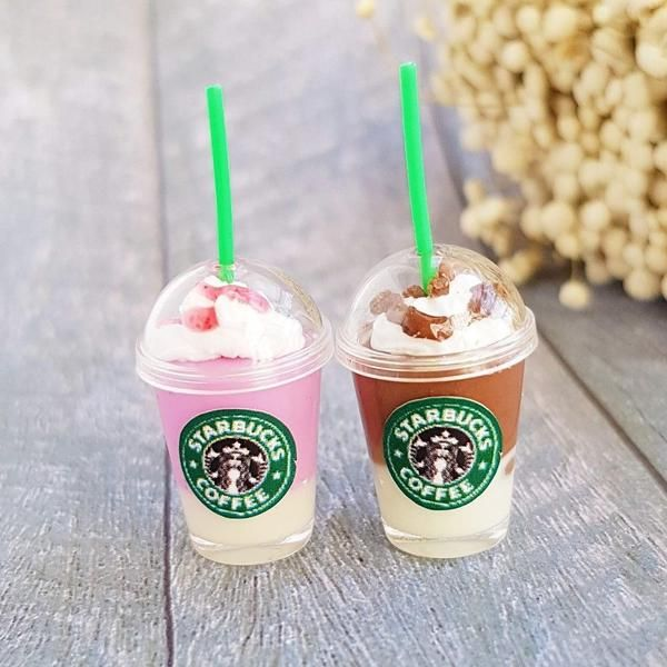 2x Miniature Starbucks Ice Coffee Cups Iced Coffee Cup Coffee