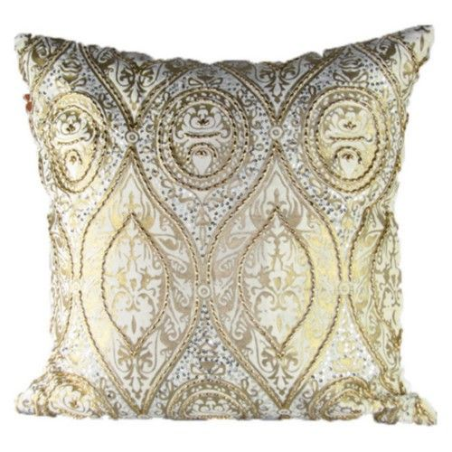 Admirable Design Accents Baroque Velvet Pillow Ivory Gold Products Home Interior And Landscaping Dextoversignezvosmurscom