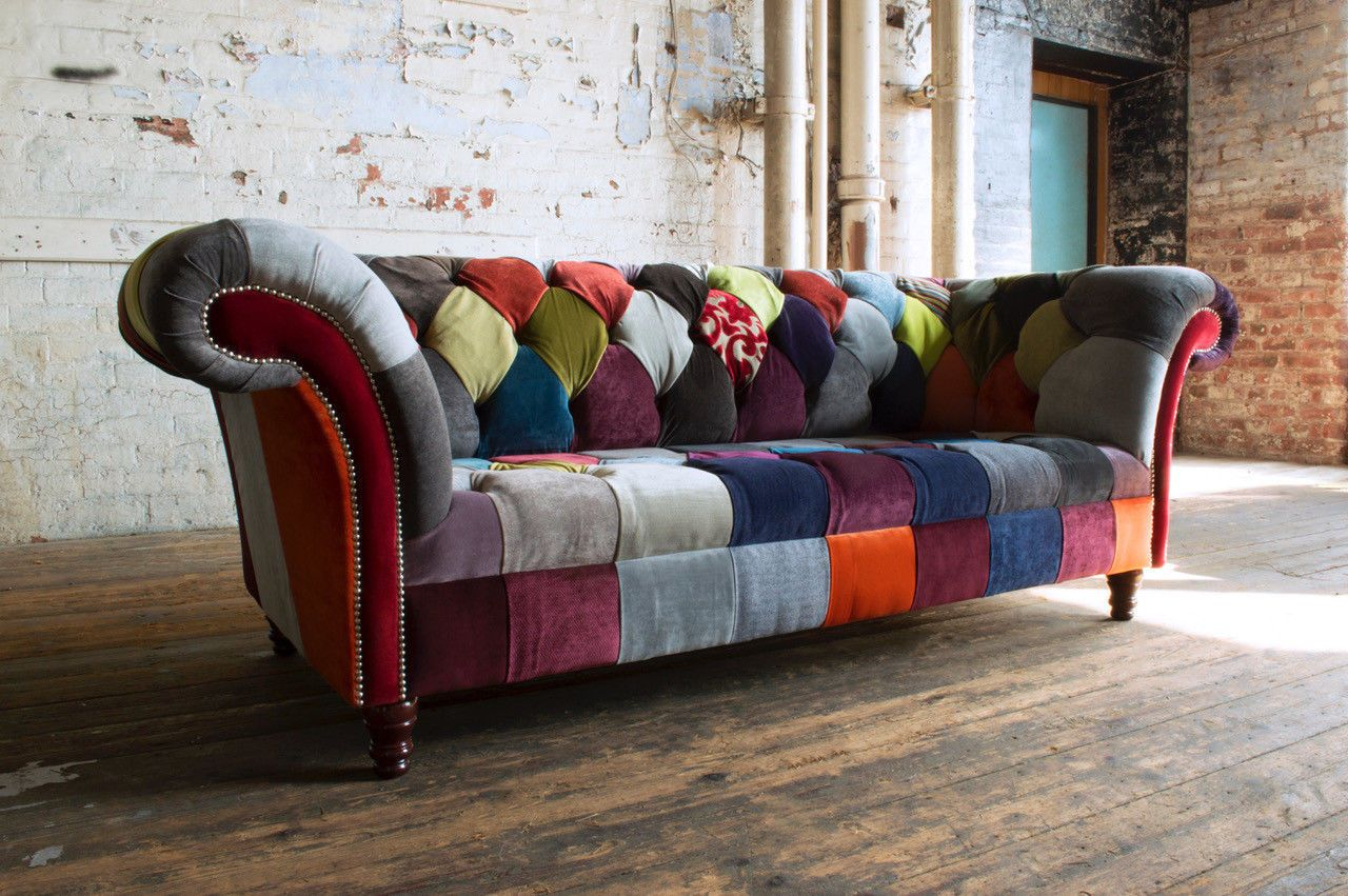 Handmade Modern 3 Seater Multi Coloured Fabric Patchwork Chesterfield Sofa In Home Furniture