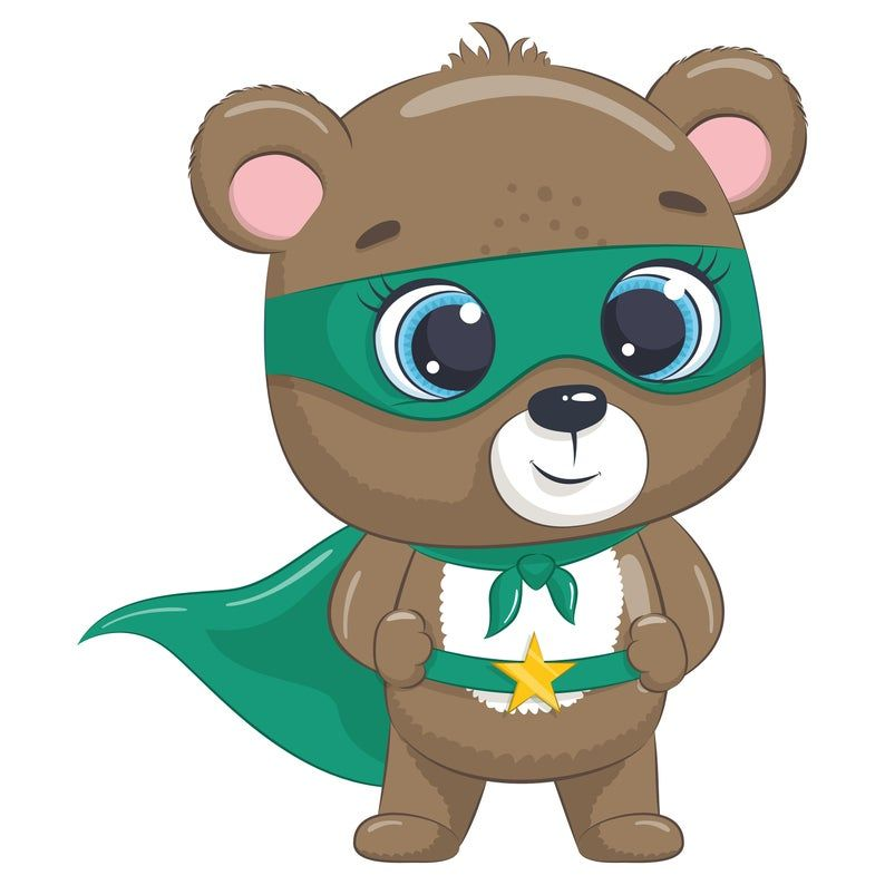Cute Baby Animal Superhero Clipart Png Eps Jpeg Boy Super Hero Birthday Commercial Use Superhero Clipart Baby Animals Cute Drawings